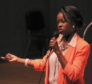 Shamere McKenzie of the Sun Gate Foundation talked with York College students Tuesday about how the sex trafficking industry is able to thrive. (SEAN COTTER — scotter@yorkdispatch.com)