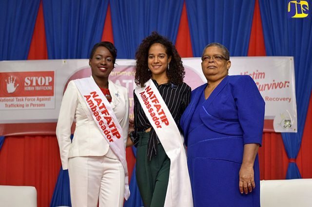 Left to right: CEO of Sun Gate Foundation, Shamere McKenzie; Ms Jamaica World 2017,, Solange Sinclair; Permanent Secretary to the Ministry of Justice and Chair of NATFATIP, Carol Palmer